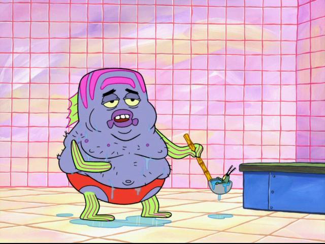 Spongebuddy mania spongebob characters fat hairy fish for Spongebob characters fish